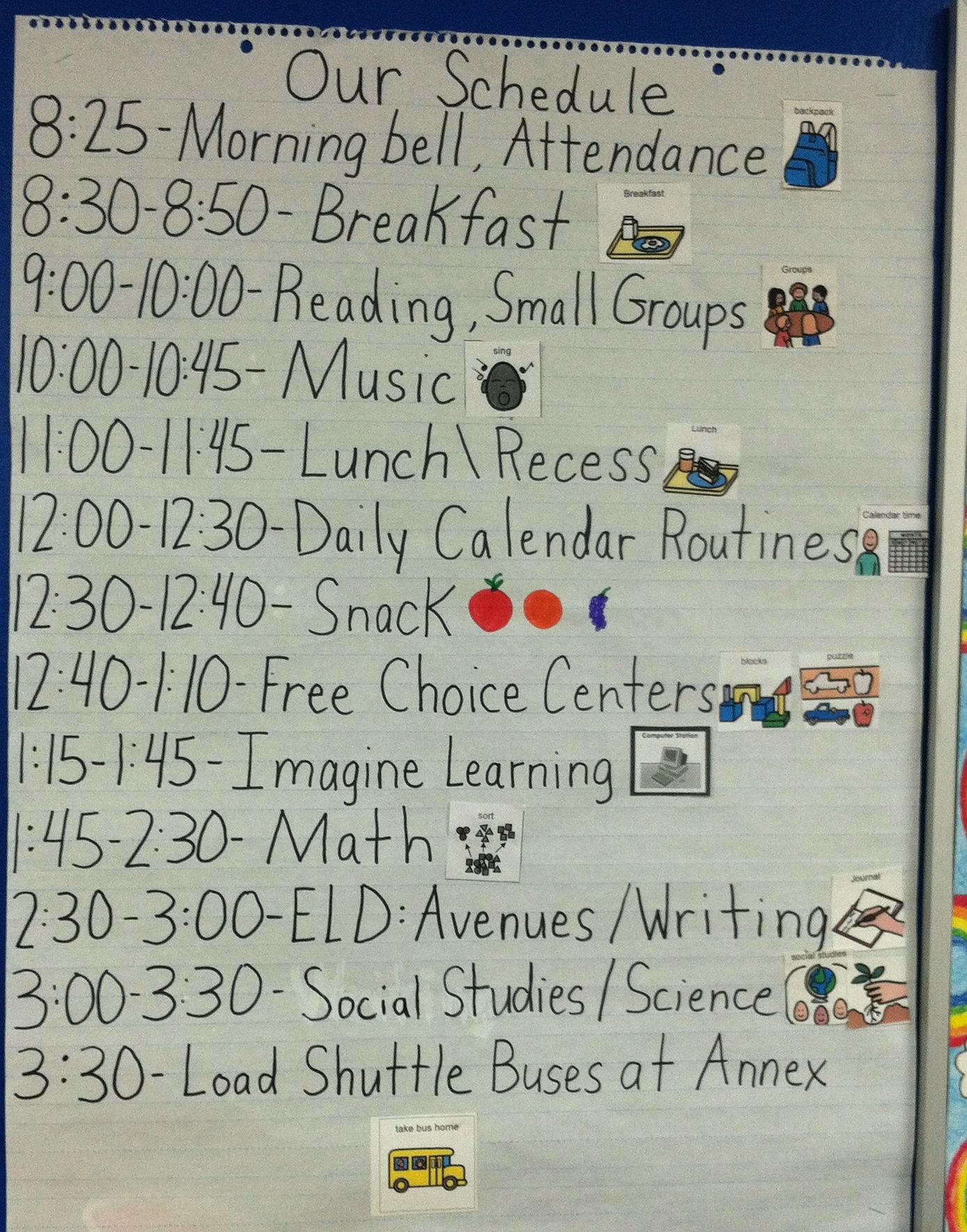 Daily Kindergarten Schedule
