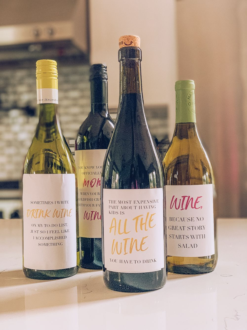 DIY Gift Idea Funny Wine Labels for moms (Free Download