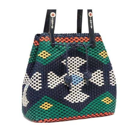 375716844e0 Tory Burch Large Woven Drawstring Leather Green navy Tote Bag on Tradesy