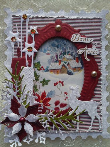 carte de voeux cadre timbre sizzix tim holtz cartes de noel pinterest christmas cards. Black Bedroom Furniture Sets. Home Design Ideas