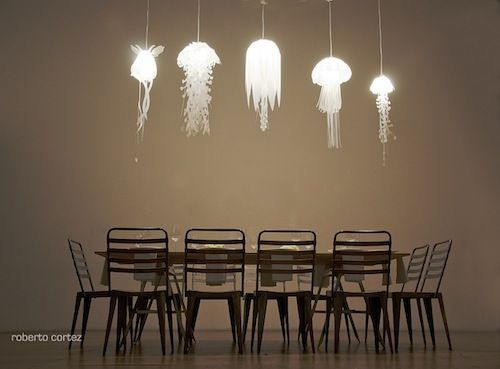 series of jellyfish-inspired lamps 'The Medusae Collection' made out of recyclable plastic / by Roxy Russell