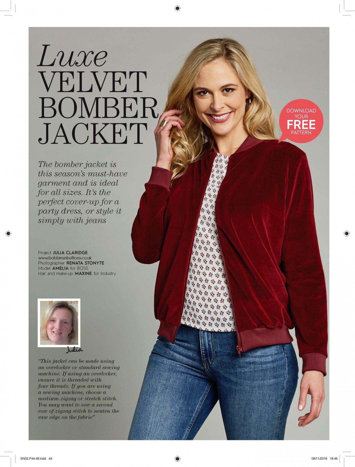 Free Pdf Pattern Velvet Bomber Jacket Sew Now 2 Download Free