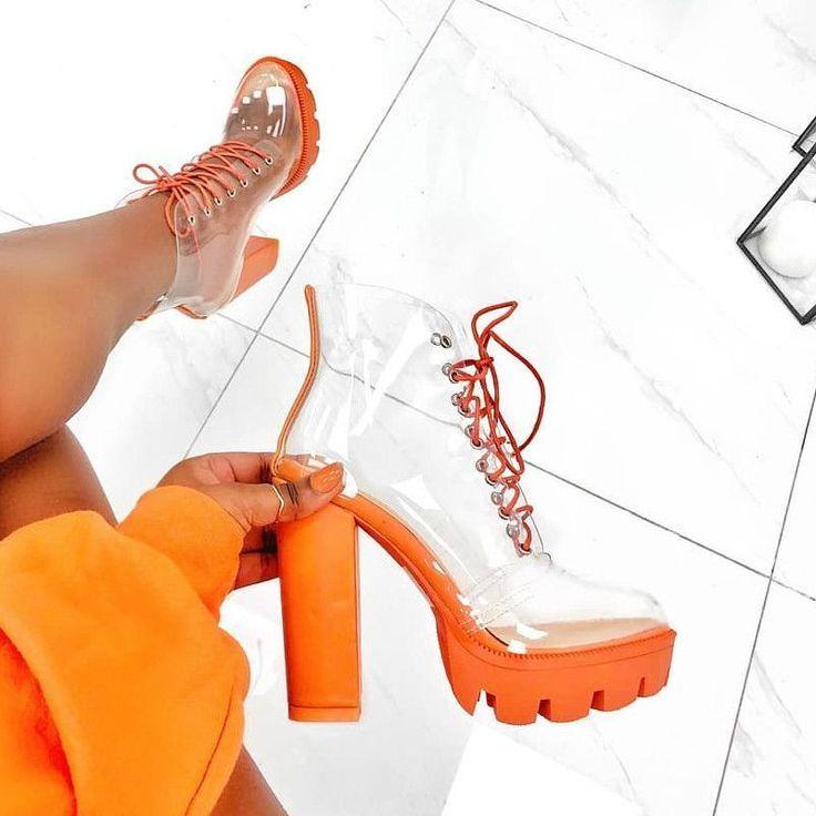 Clear Chunky High Heel Boots | Taças, Calcanhar, Botas de