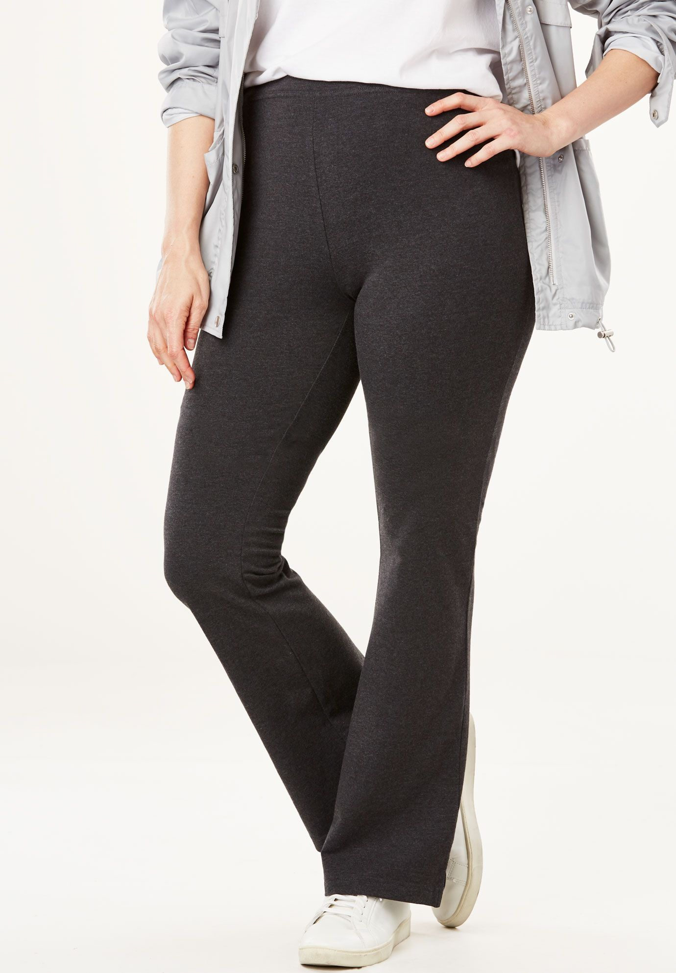 abb43b1c07e4b Stretch Cotton Bootcut Yoga Pant, HEATHER CHARCOAL, hi-res | cloths ...