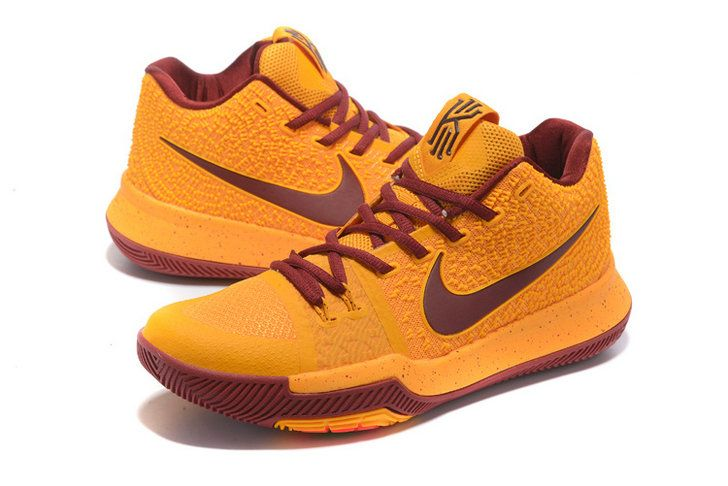 info for e8c6d 0b2ef Nike Zoom Kyrie 3 Mens Original Basketball Shoes Rattan Yellow Wine Red
