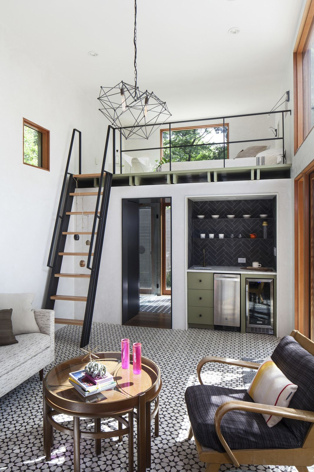 The New Casita Features A Double Height Living Room With Custom Cement Tiles  And Plaster Walls, As Well As A Kitchenette Nook, And Custom Steel U0026 Wood  Ship ...