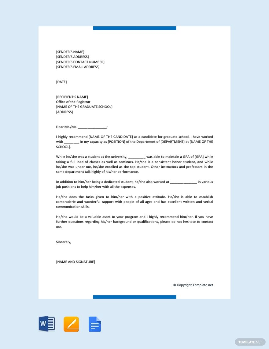 Free Letter of for Graduate School (With