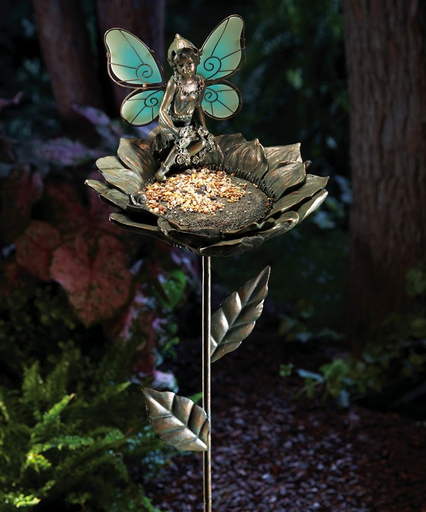 Glow in the dark fairy bird feeder garden stake Fairy