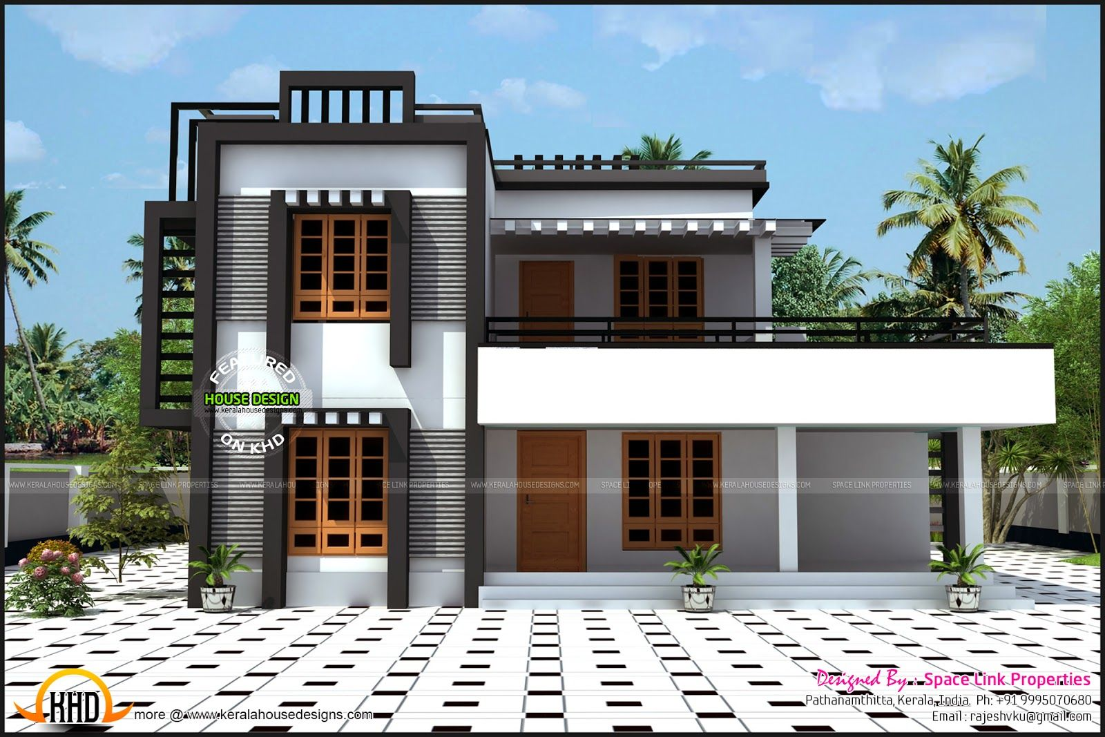 2148 sq ft flat roof house in kollam kerala architecture pinterest flat roof and architecture