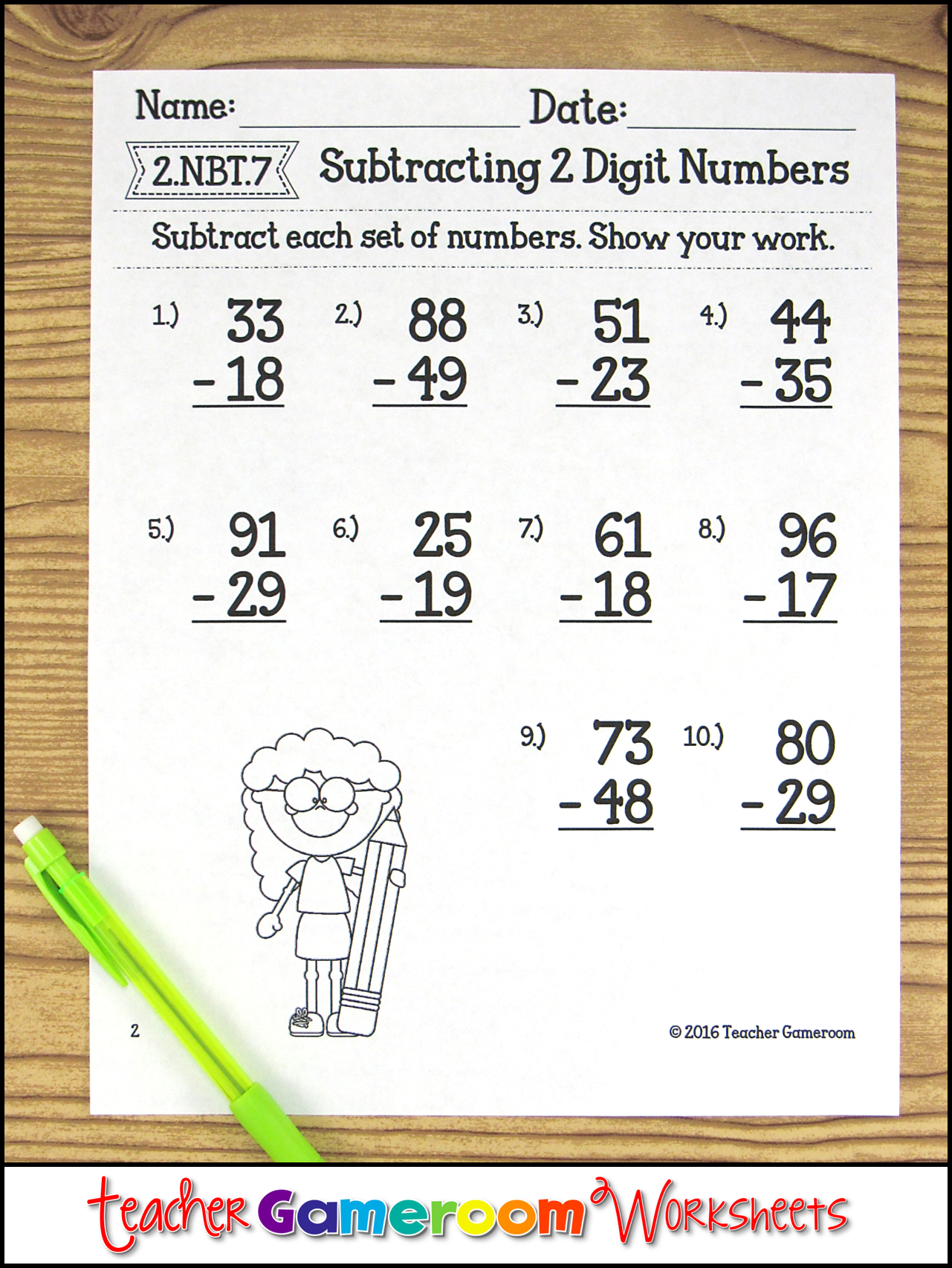 Subtracting 2 Digit Numbers Worksheets