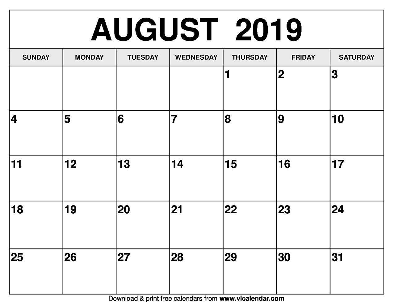 August 2019 Calendar Printable Templates Dowload Calendar