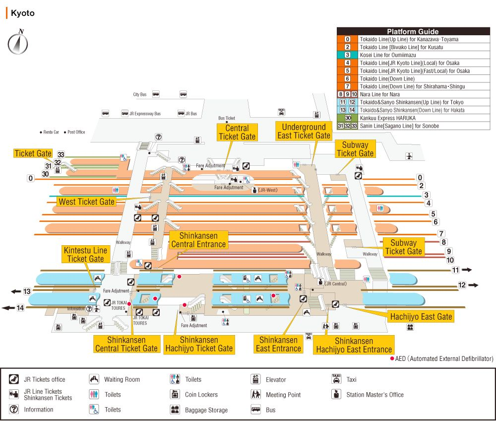 Kyoto Station Map JR CENTRAL Japan Pinterest Kyoto and Japan