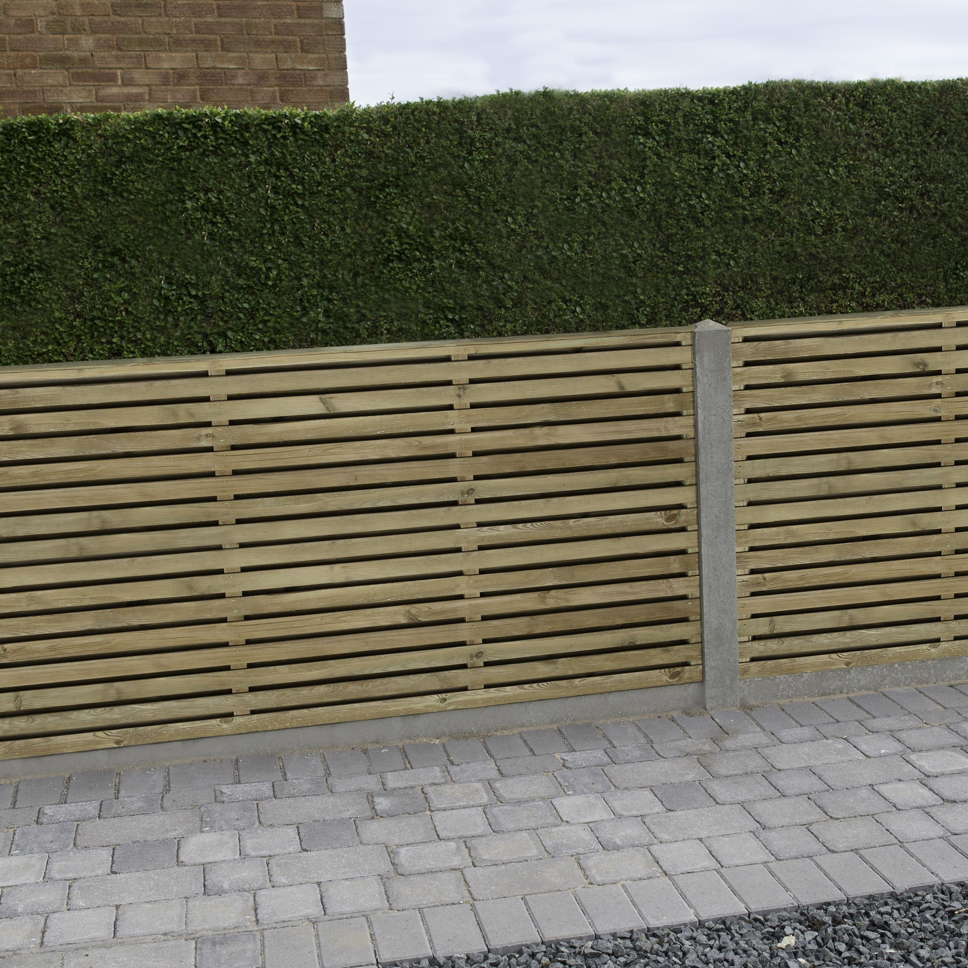 Contemporary Double Slatted Fence Panel W 1 83m H 0 9m Pack Of 4green Slatted Fence Panels Fence Panels Gravel Patio Diy