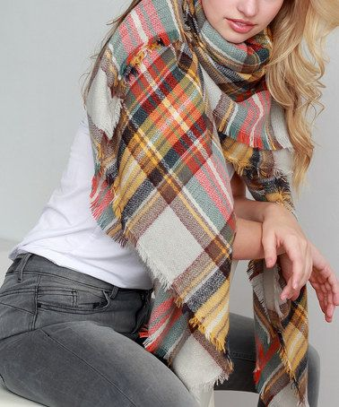 Love this Mustard & White Plaid Oversize Scarf on #zulily! #zulilyfinds