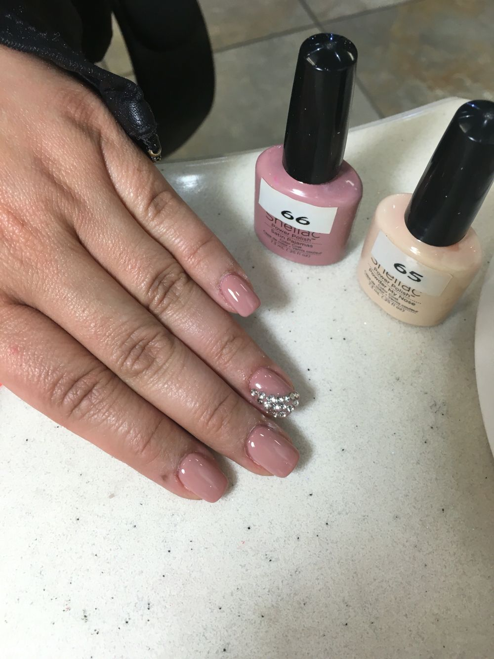 Satin Pajamas with Powder My Nose Shellac on top with a bit of bling ...
