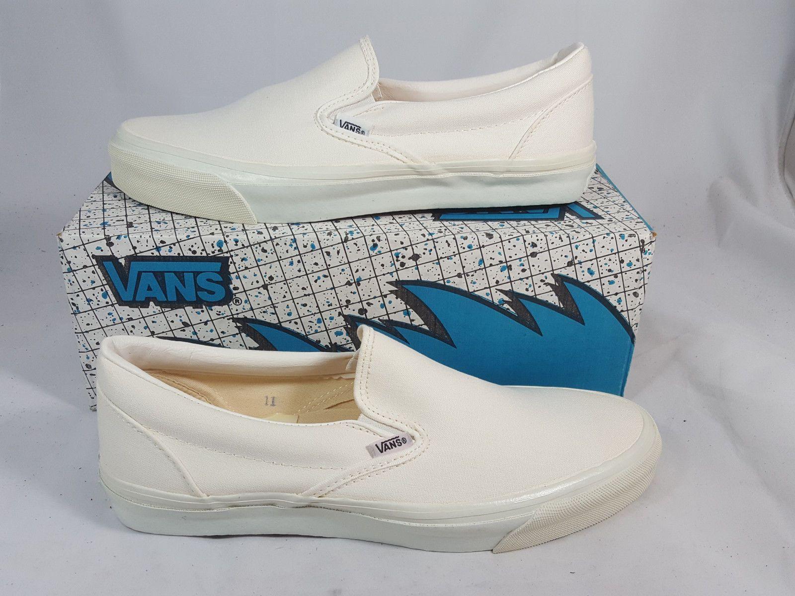 edc0de9bca Vintage Vans SLIP ON Shoes WHITE made in USA Men s Size 11 NOS Old Skool SK8