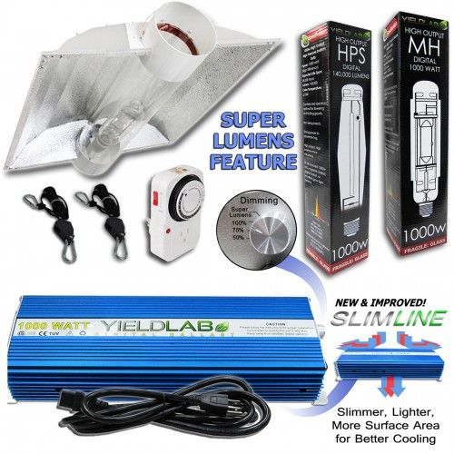 Yield Lab 1000 Watt Cool Tube Hood Hps Mh Kit With Images Grow Lights Light Hanger Hps Grow Lights