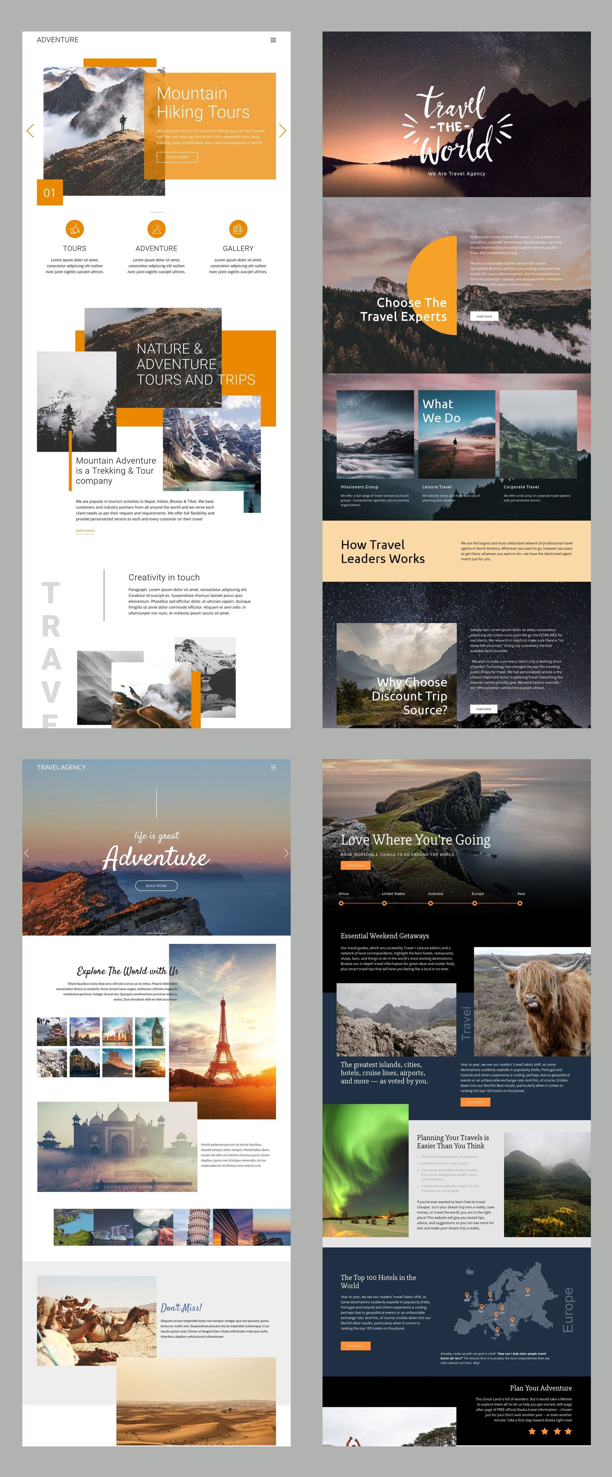 Free Templates By Nicepage Builder Website Layout Inspiration Travel Website Design Web Layout Design
