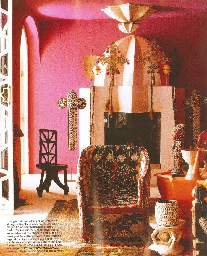 African decor with large Ethiopian crosses in Liza Bruce's Home – Marrakech, Morocco