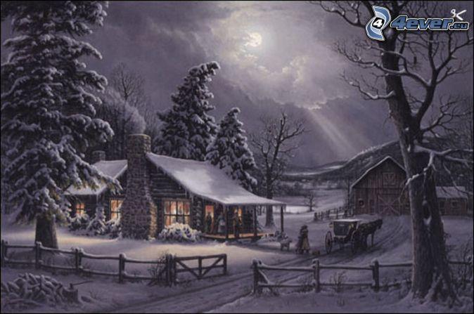schneebedeckte Hütte, Nadelbäume, Pferdegespann, alter verschneiter Zaun, Cart…