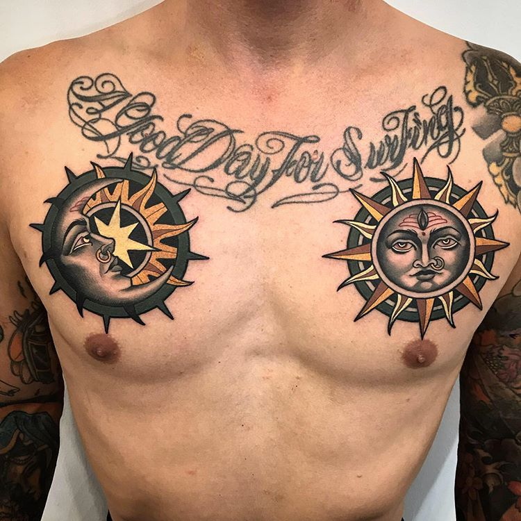 Alvaro Alonso Bcn On Instagram Moon And Sun For My Brother Mares Tattooist So Honored To Tattoo You In 2020 Sun Tattoo Designs Moon Tattoo Chest Tattoos For Women