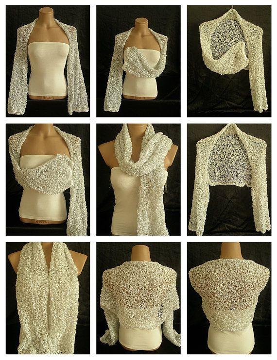 Hand knitted white shrug $39.00