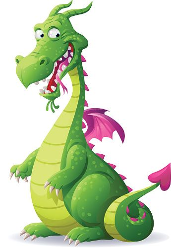 Laughing Green Dragon vector art illustration