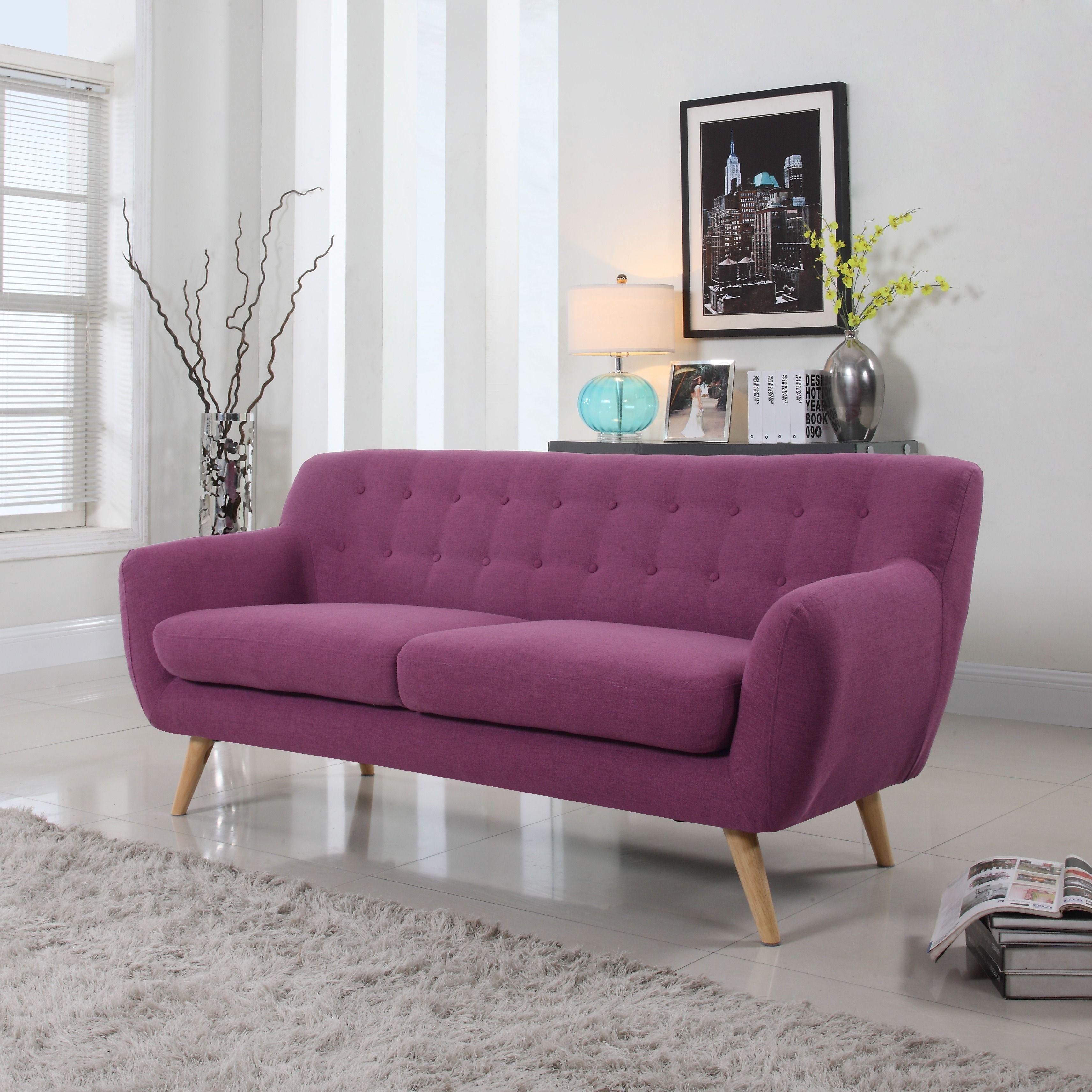 Madison mid century modern tufted linen fabric sofa purple