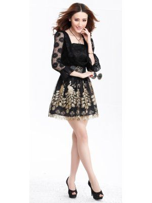 pure color princess sleeve peacock printing dress lace