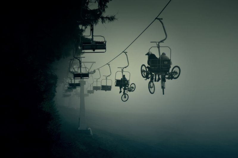 bikes up the hill