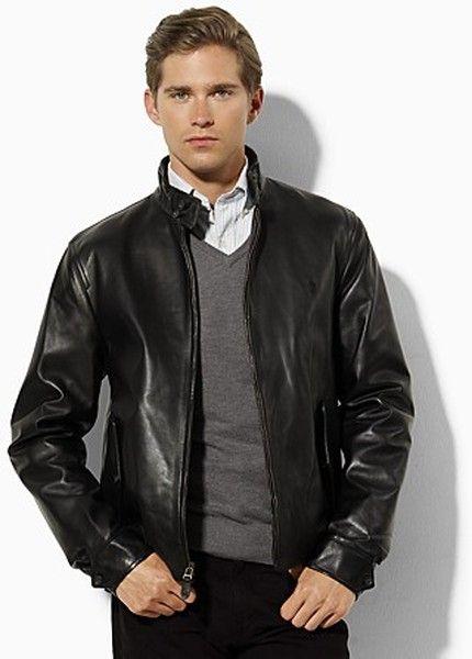 94687d398 Men s Black Polo Leather Barracuda Jacket