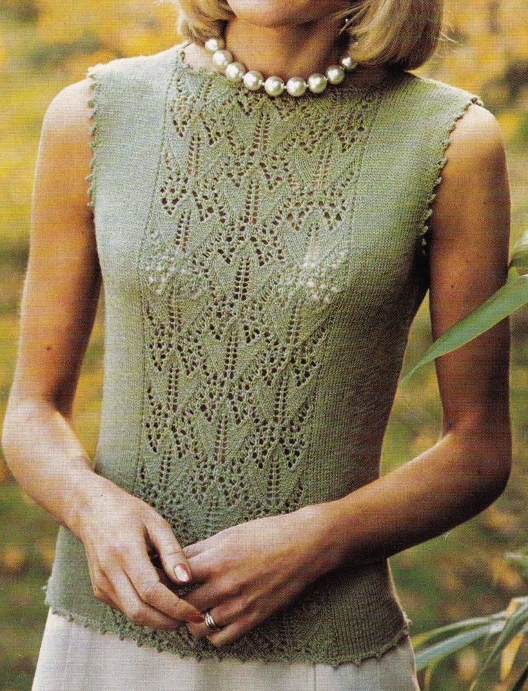 Vintage Knitting Pattern Instructions For A Ladies Lacy Summer Top 3