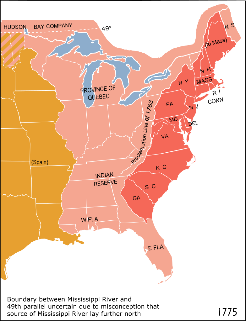 Eastern North America In 1775 The British Province Of Quebec The