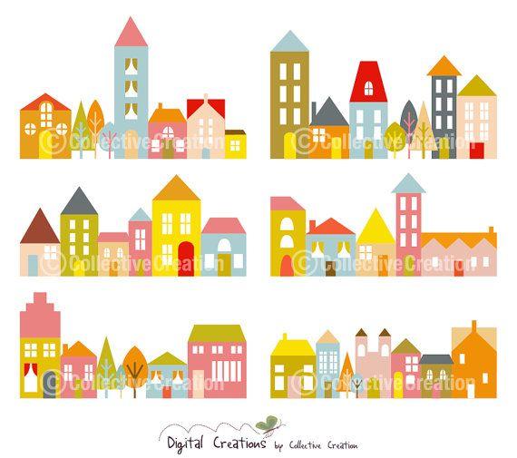 Maison+touffes+Clip+Art+images+Clipart+Set++par