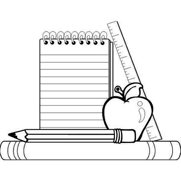 compele school supplies for going back to school coloring page - First Day Of Preschool Coloring Pages