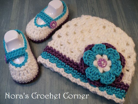 Baby Girl Crochet Hat and Shoes set Mary от NorasCrochetCorner, $24.00