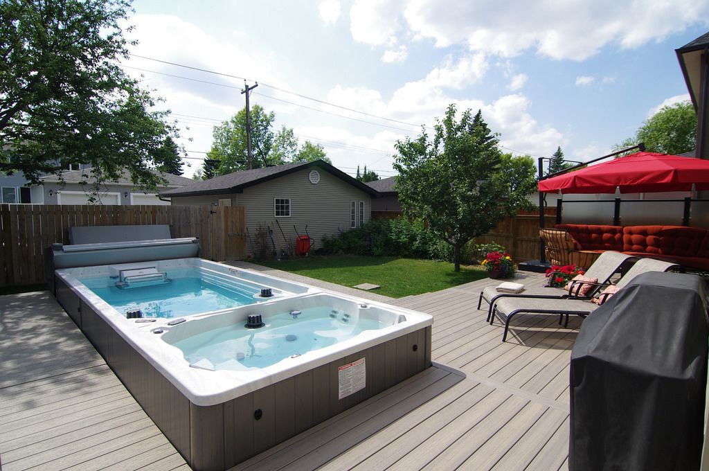 The Owner Of This 19 39 Endless Pool Swim Spa Enjoys Year Round Swimming And Fitness In One End