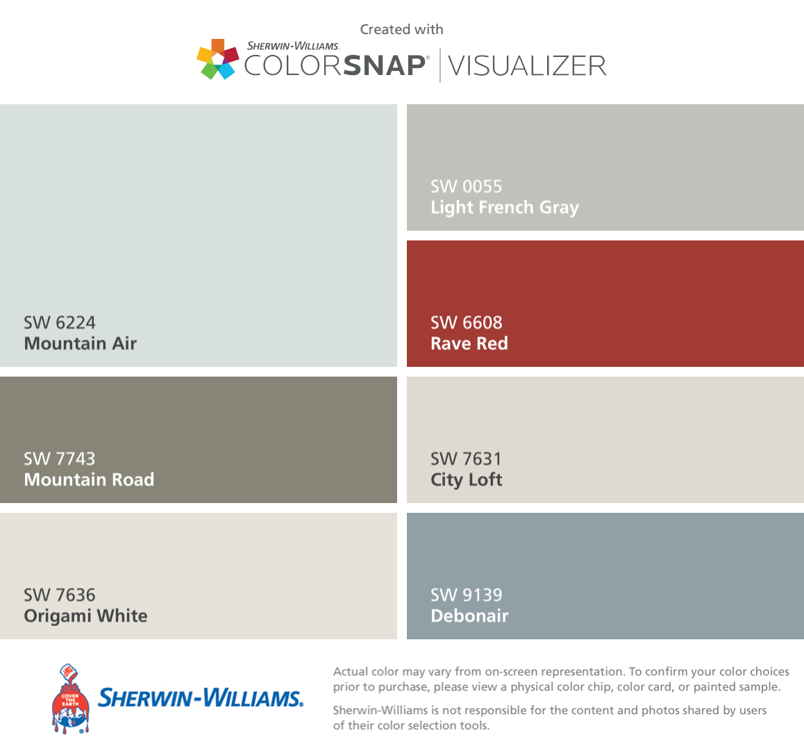 I found these colors with ColorSnap® Visualizer for iPhone by Sherwin-Williams: Mountain Air (SW 6224), Mountain Road (SW 7743), Origami White (SW 7636), Light French Gray (SW 0055), Rave Red (SW 6608), City Loft (SW 7631), Debonair (SW 9139). #cityloftsherwinwilliams
