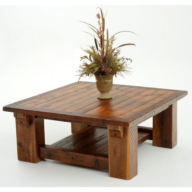 Rocky Creek Rustic Reclaimed Timber Frame Coffee Table With Shelf
