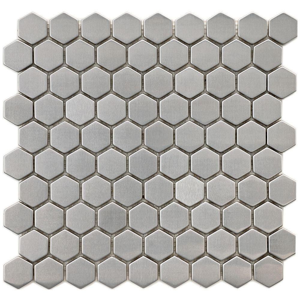 Merola Tile Meta Hex 11 1 4 In X 11 1 4 In X 8 Mm Stainless Steel Metal Over Ceramic Mosaic Tile Mdrmshex Ceramic Mosaic Tile Mosaic Wall Tiles Hexagon Tiles