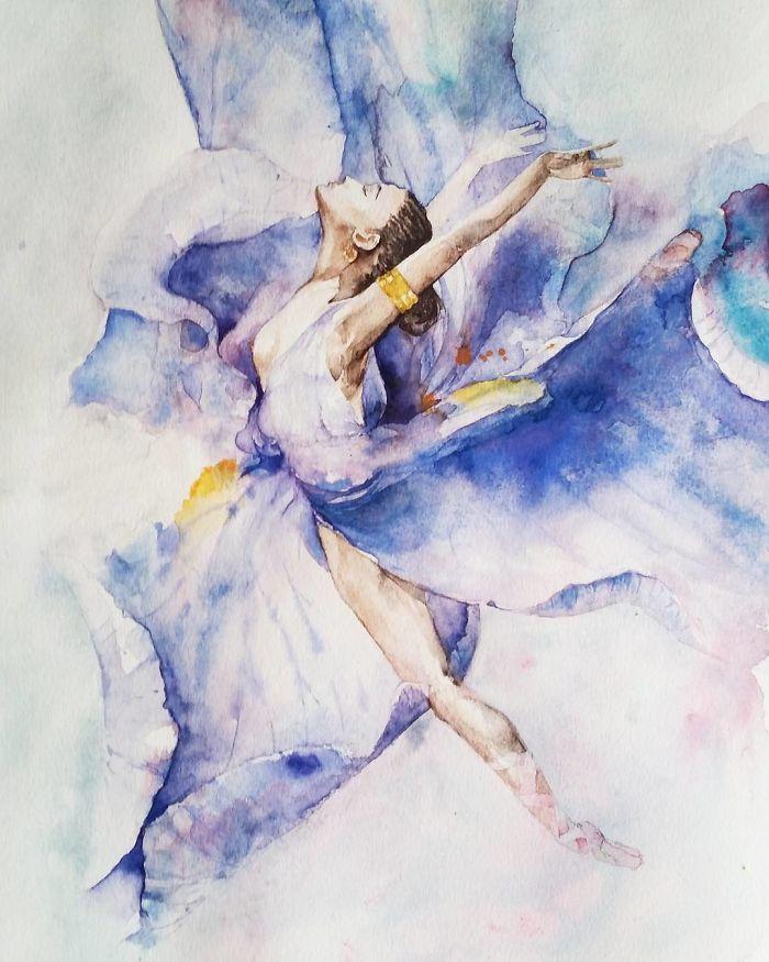 Watercolor Ballerinas By Yulia She | Bored Panda
