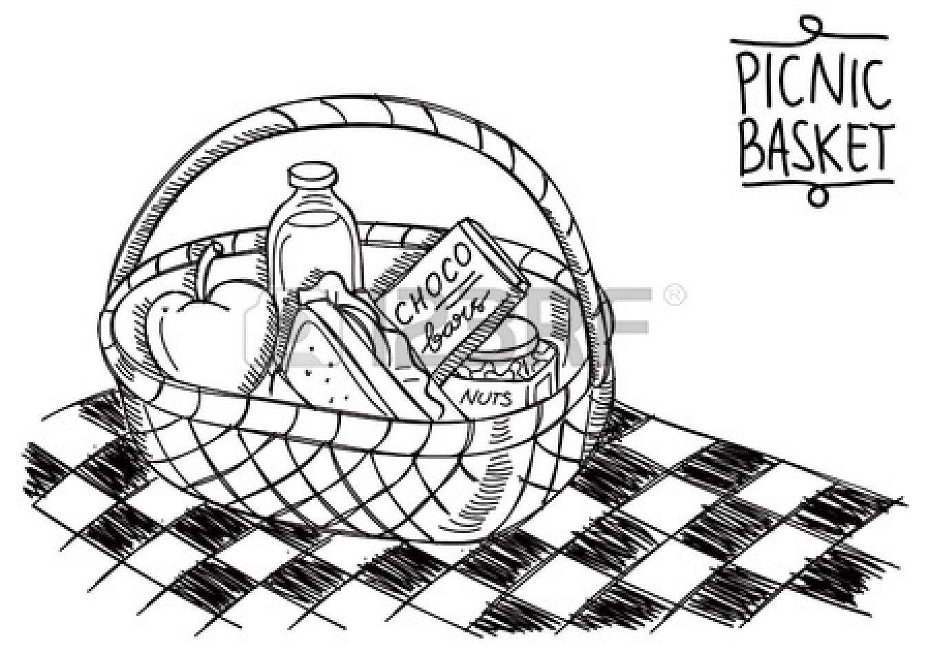 Picnic Basket In Doodle Style Basket Drawing Doodles Vintage Picnic