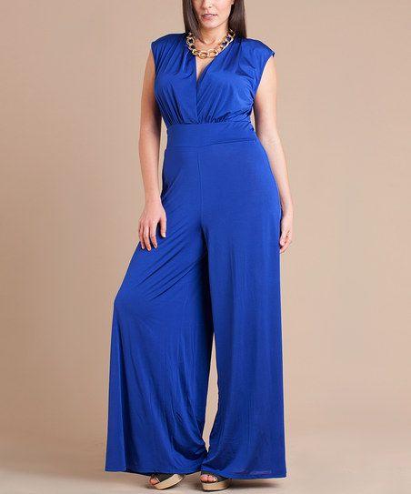 Royal Blue Cap Sleeve Jumpsuit Plus Dress Me Up Jumpsuit With