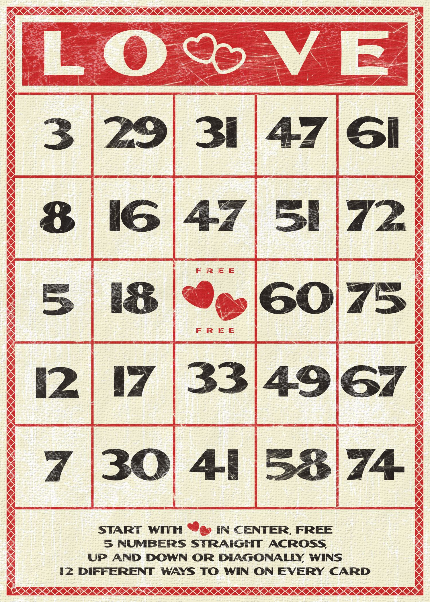 Love Bingo Card Be My Valentine Pinterest – Valentine Bingo Card