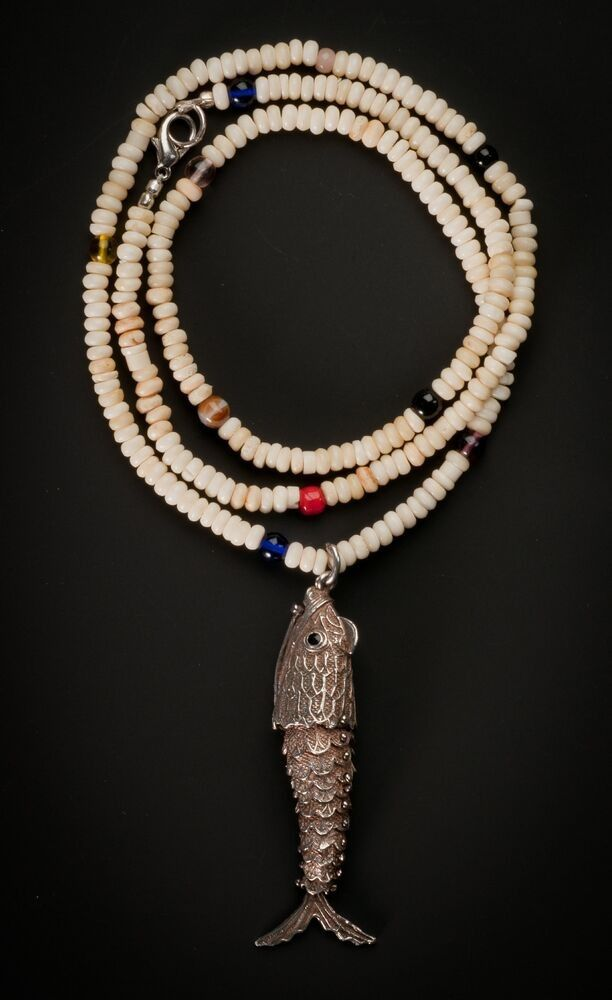 Necklace with pearls made of horn and glass, silver Pendant, movable limbs fish, very old and rare