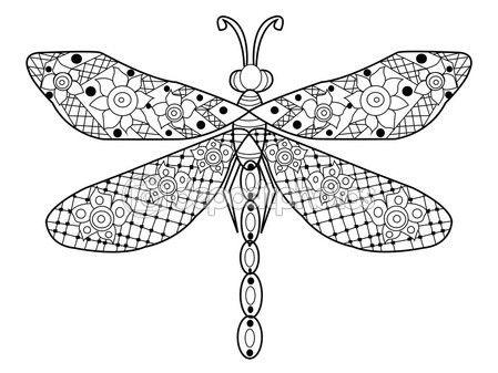 Vector de libelula para colorear para adultos — Ilustración de stock ...