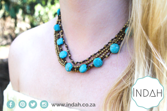 Turquoise Blue Stone Necklace With Smaller Golden Bronze Beads Boho Jewelry Beach