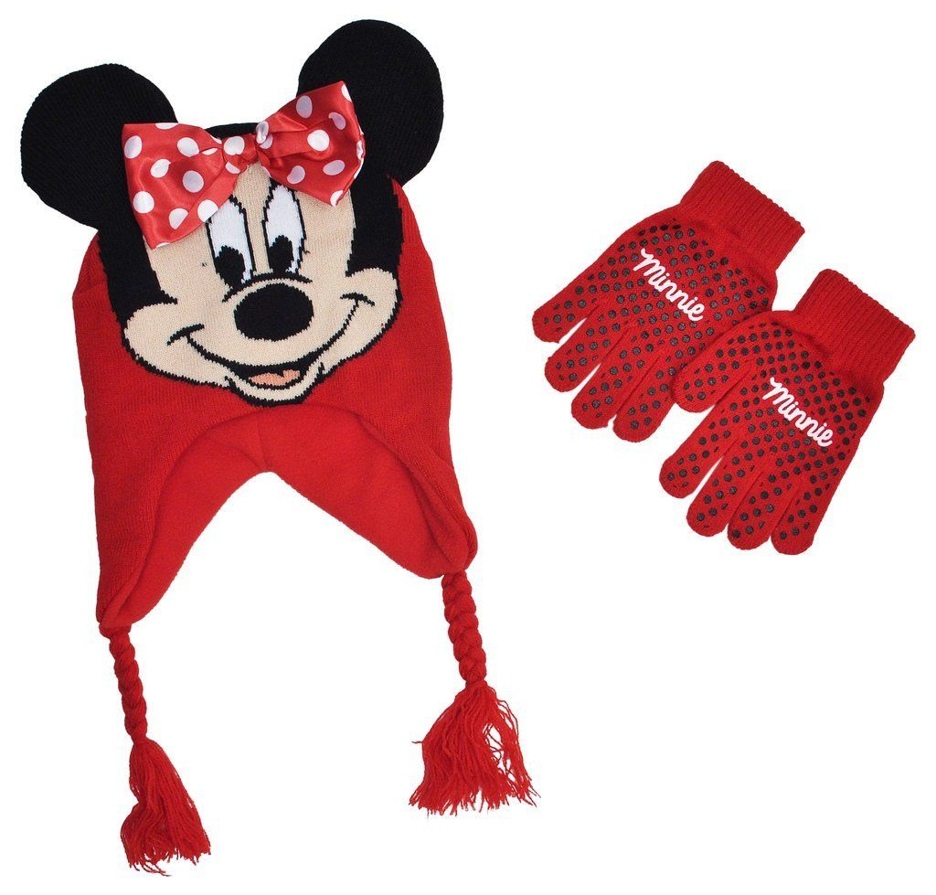 6cd42dc8fc3 Minnie Mouse Girls Kids Winter Hat Beanie Mittens Gloves Set. One size