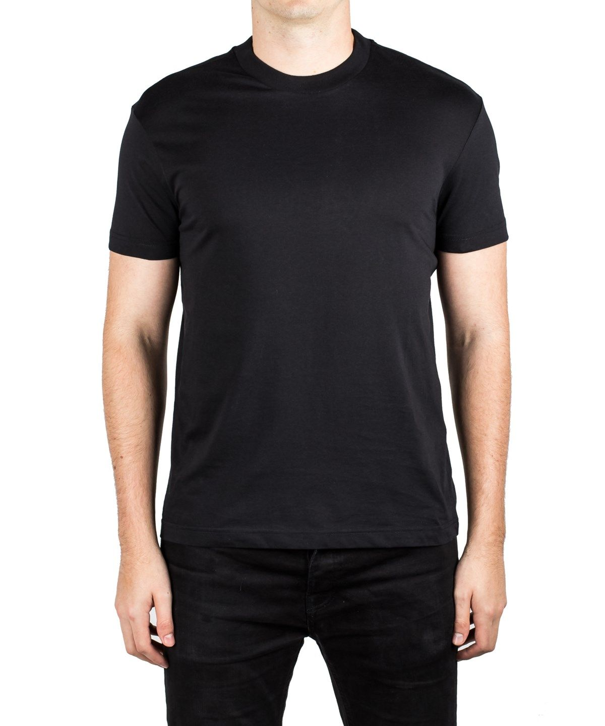17432f22 PRADA Prada Men'S Jersey Cotton Crew Neck Patch T-Shirt Black ...
