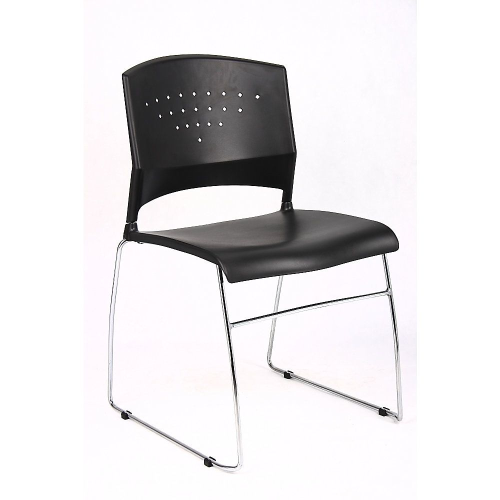 Boss Poly Stackable Chrome Chair Black Silver Stackable Chairs